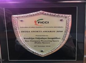 केन्द्रीय विद्यालय को सर्वश्रेष्ठ कंपनी प्रमोटींग स्पोर्ट्स (पब्लिक सेक्टर) की श्रेणी के लिए फिक्की इंडिया स्पोर्ट्स अवॉर्ड-2018 मिला। (2018/10/25)